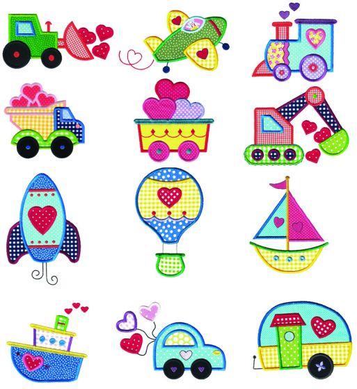 Valentine Vehicles Applique Machine Embroidery Designs by JuJu