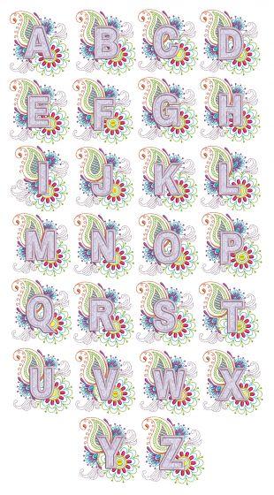 Mehndi Background Applique Monogram Machine Embroidery Designs by JuJu