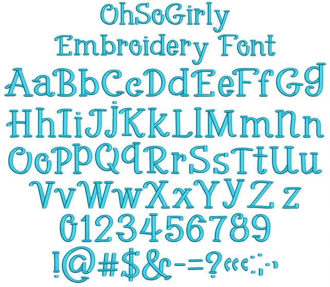 Oh So Girly Embroidery Font