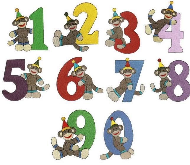 Birthday sock monkey numbers filled machine embroidery designs