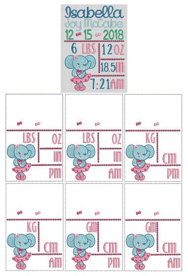 Ballerina Elephant Birth Announcement Template Machine Embroidery Designs by JuJu