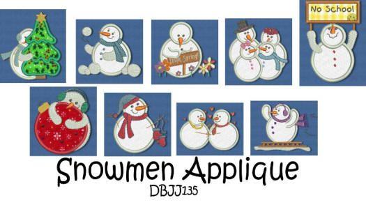 Snowmen Applique 4x4 and 5x7