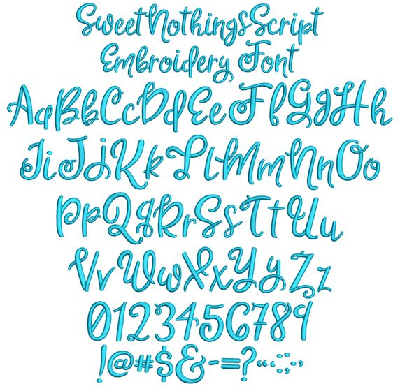 Sweet Nothings Script Embroidery Font