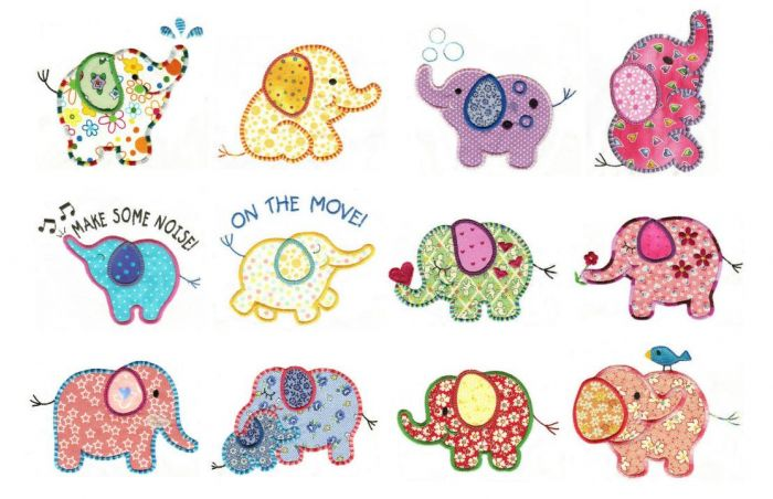 Cute roly poly elephants applique machine embroidery designs