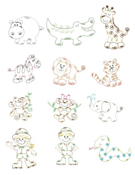 Safari Animals Vintage Stitch Machine Embroidery Designs By JuJu
