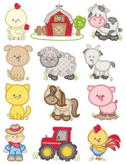 Sweet Farm Applique Machine Applique Tractor  pig farmer barn cow cat horse goat dog chicken Embroidery Designs by JuJu