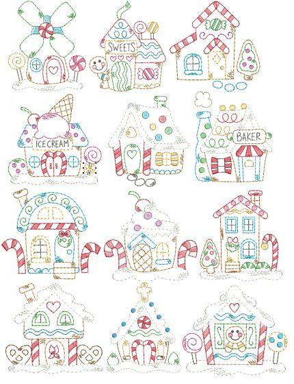 Gingerbread Village Vintage Stitch Machine Embroidery Designs by JuJu