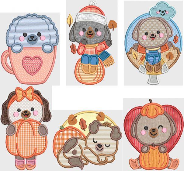Autumn Dogs Digital Machine Embroidery Designs by JuJu