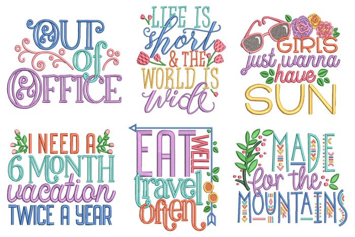 Vacation Word Art 1 Machine Embroidery Designs by JuJu