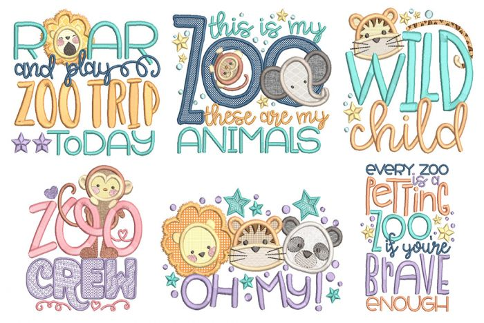 Zoo Word Art 2 Machine Embroidery Designs By JuJu