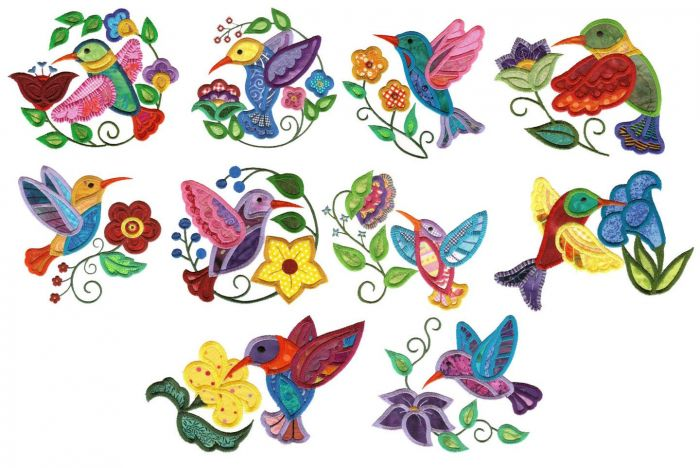 Jacobean hummingbird applique machine embroidery jumbo designs.