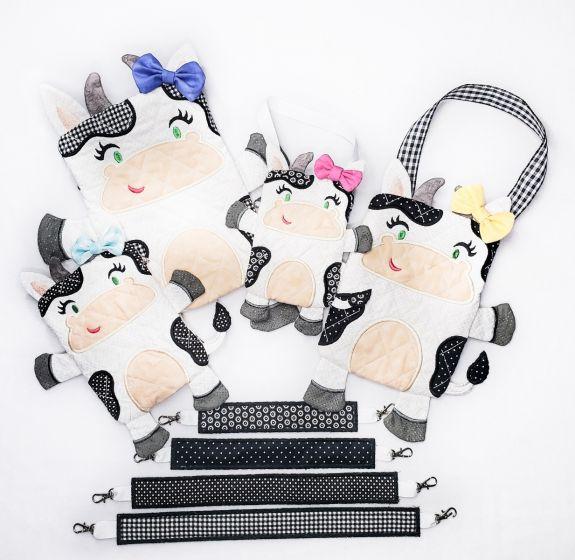In The Hoop Cow Zipper Bag Machine Embroidery Designs by JuJu