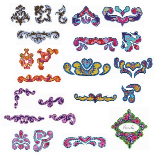 Damask Elements applique machine embroidery designs by juju