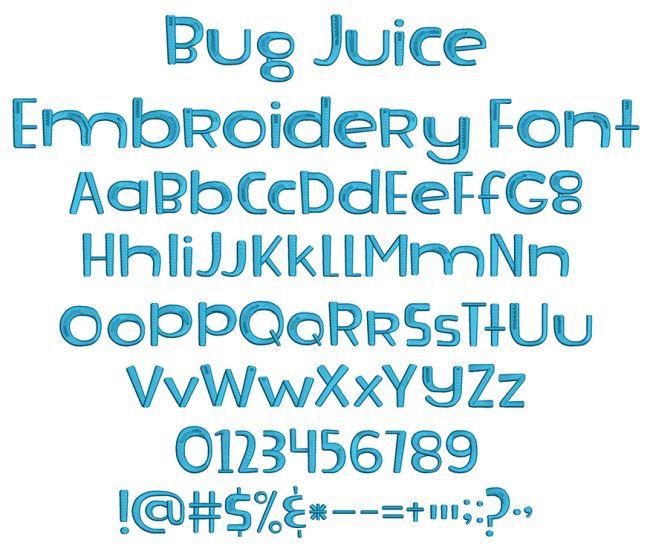 Bug Juice Embroidery Font