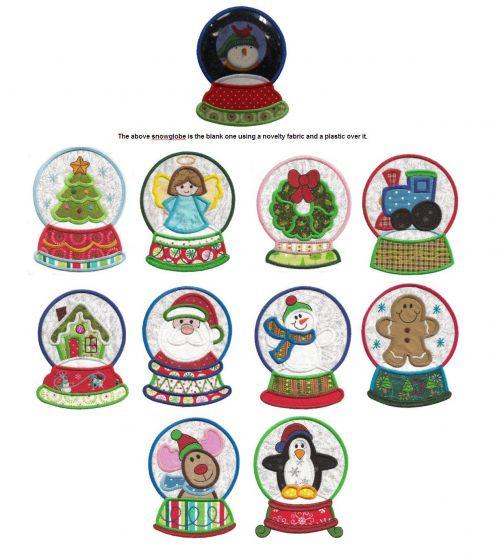 Christmas seasonal snowglobe applique machine embroidery designs
