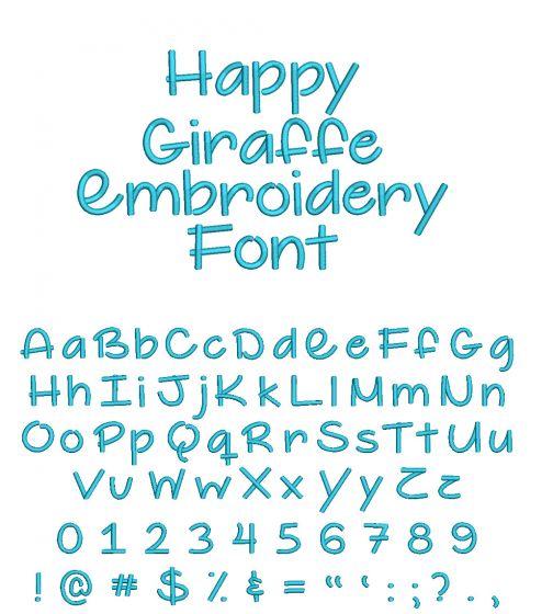 Happy Giraffe Embroidery Font Machine Embroidery Designs by JuJu