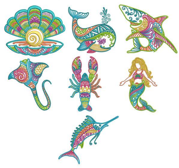 Mehndi Sea Life Set 4 Machine Embroidery Designs by JuJu