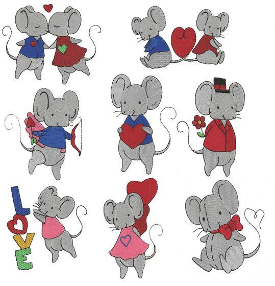 Valentine's Mice Filled Designs by JuJu Machine Embroidery Designs