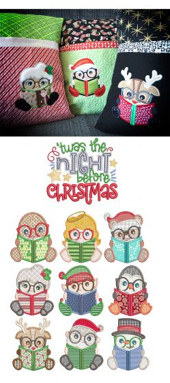 Christmas Readers Machine Embroidery Designs by JuJu