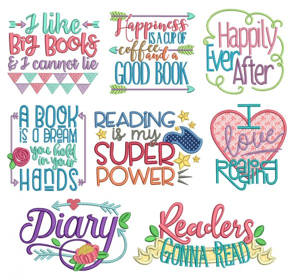 Reading Word Art Set 1 Reading Pillow Machine Embroidery Designs by JuJu