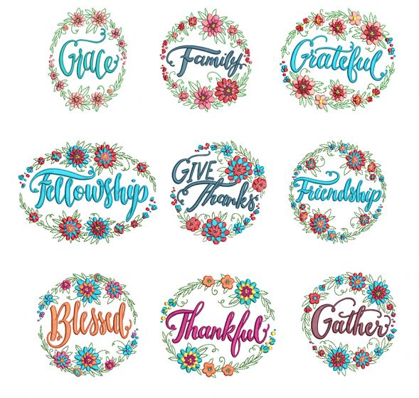 Floral Wreaths Gratitude Machine Embroidery Designs by JuJu