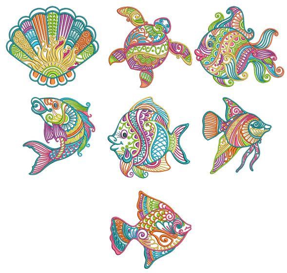 Mehndi Sea Life Set 2 Machine Embroidery Designs by JuJu