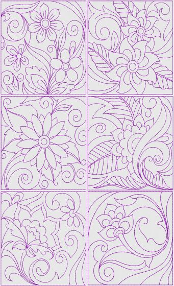 Floral Quilt Blocks 2 Machine Embroidery Designs by JuJu