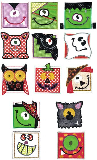 Halloween Blocks Applique Machine Embroidery Designs by JuJu