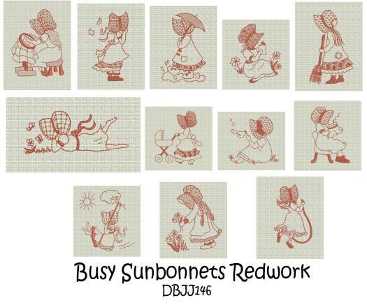 Busy Sunbonnet Girls Redwork