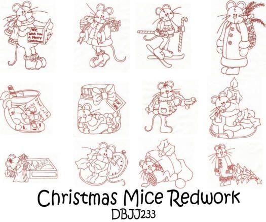Christmas Mice Redwork