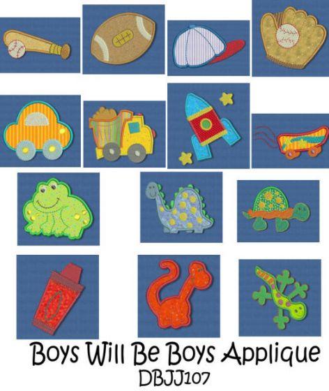 Boys Will Be Boys Applique 4x4