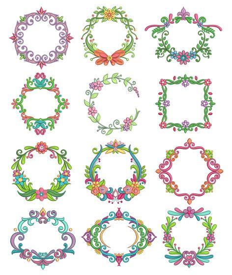 Fancy Monogram Frames Machine Embroidery Designs by JuJu