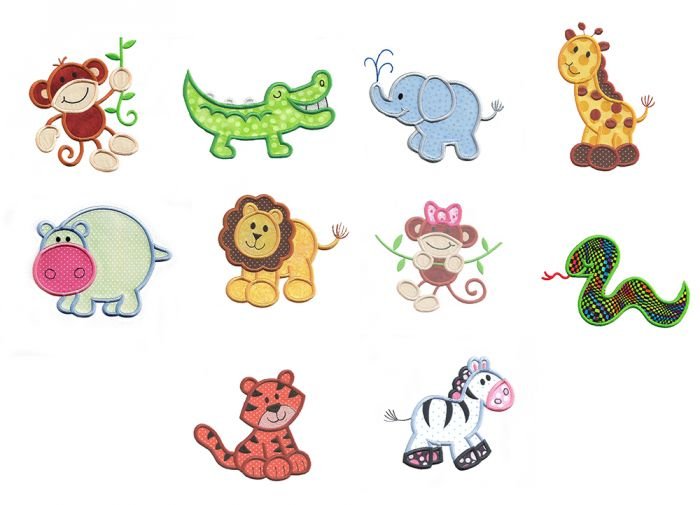 cute jungle animals applique machine embroidery designs