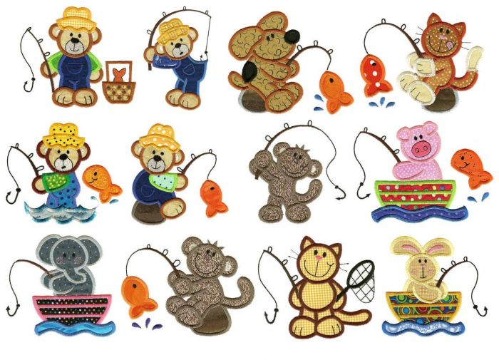 Animals gone fishing applique machine embroidery designs