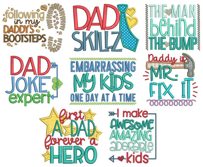 Dad's Life Word Art Machine Embroidery Designs By JuJu