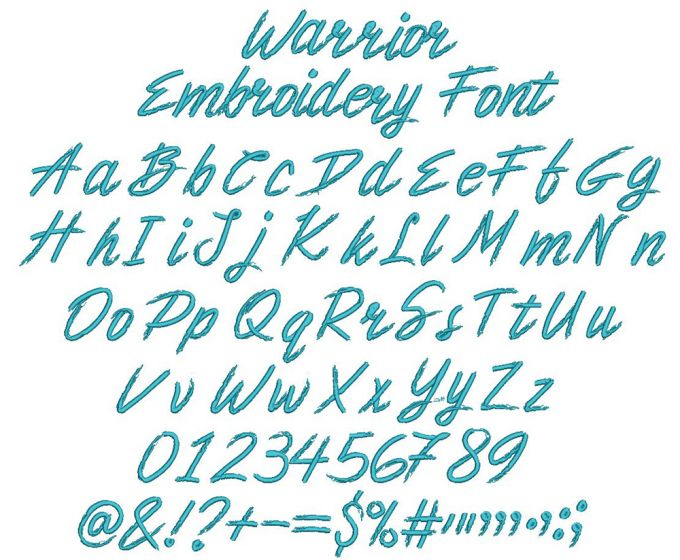 Warrior Embroidery Font