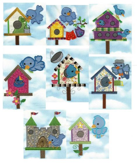 Bluebirds and birdhouses applique machine embroidery designs