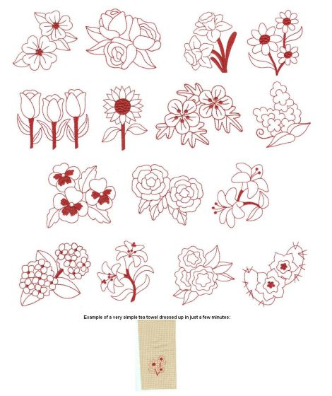 Beautiful flower blossoms redwork machine embroidery designs