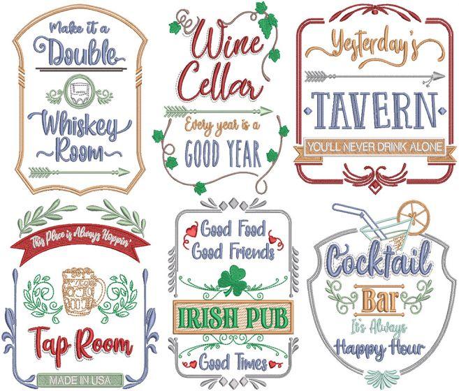 Bar and Pub Signs Digital Machine Embroidery Designs by JuJu