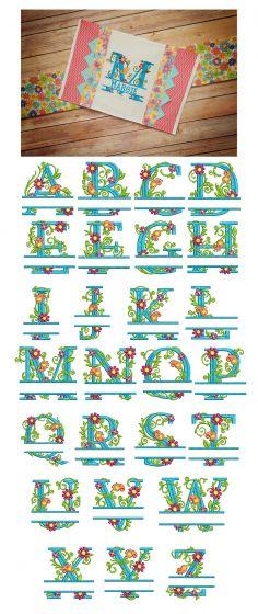 Split Floral Monogram Designs by JuJu Machine Embroidery Designs