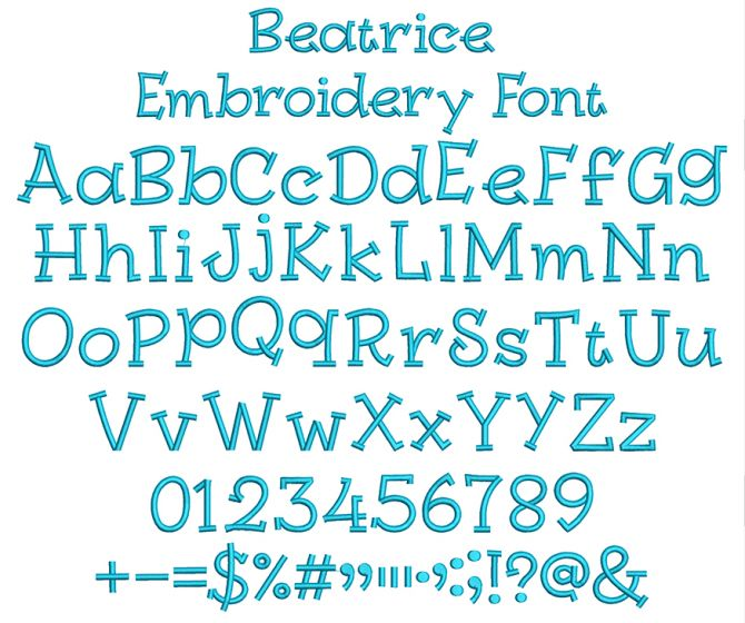 Beatrice Embroidery Font