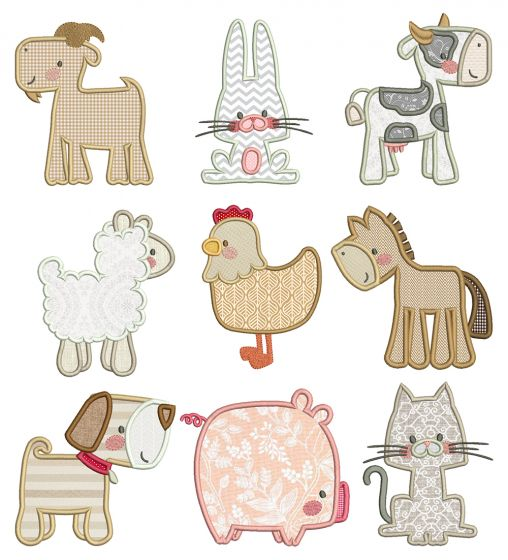 Boxy Farm Animals Applique Machine Embroidery Designs by JuJu