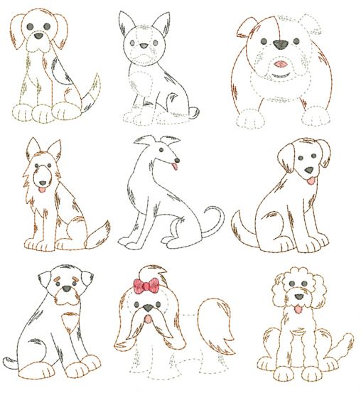 Top Dogs Vintage Stitch Set 2 Machine Embroidery Designs by JuJu