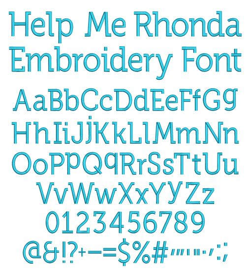 Help Me Rhonda Font Digital Machine Embroidery Designs by JuJu