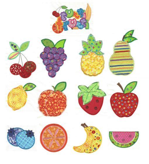 cute fruit applique machine embroidery designs