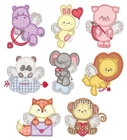 Cupid Animals Applique Machine Embroidery Designs by JuJu