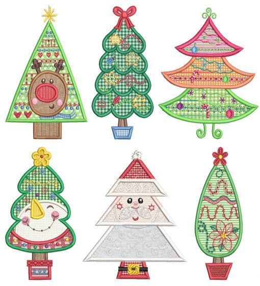 Sweet Christmas Trees Applique