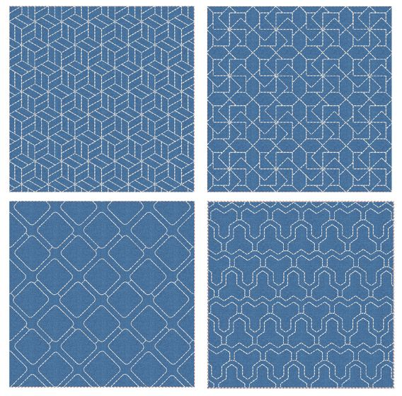 Sashiko Quilt Blocks 16 Machine Embroidery Designs by JuJu