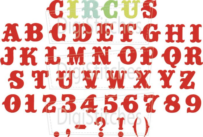 Circus Embroidery Font