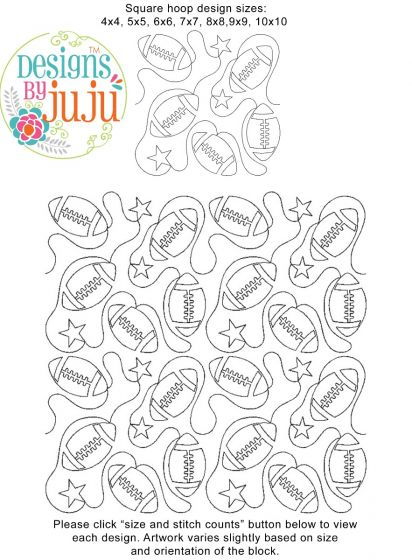 All Star Football End-to-End Quilting Embroidery Design